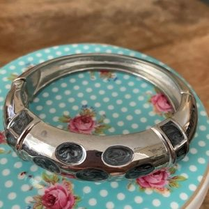 Silver Finish Hinged Bangle grey enamel accents